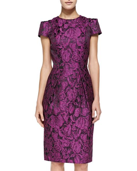 Sleeve Floral Sheath Dress marc valvo cap sleeve floral sheath dress