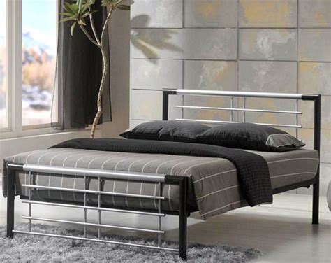 modern metal bed frame metal beds atlanta silver black double metal bed frame