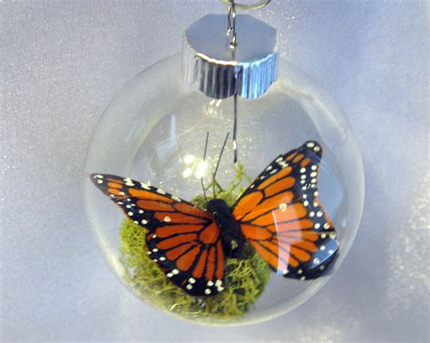 butterfly christmas ornament monarch captive inside clear