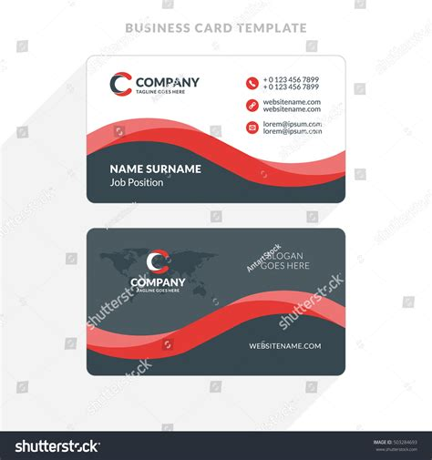 business card clean template design illustrator creative clean doublesided business card template stock