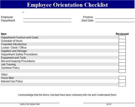 Employee Orientation Checklist Employee File Checklist Template