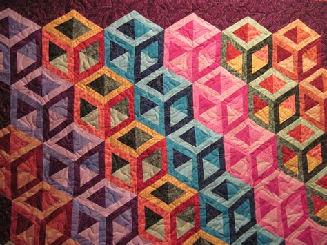 Patchwork Effect - jean s quilting page cubes quilted