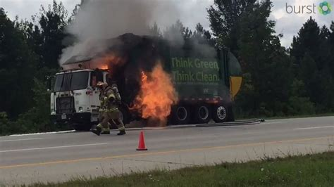 trash truck explodes  catching fire    wkef