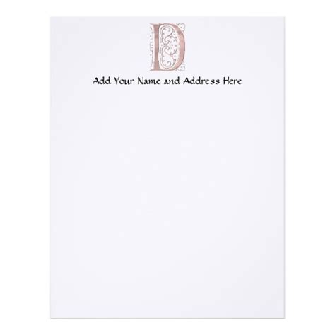 fancy letter template fancy letter d 1 letterhead template zazzle