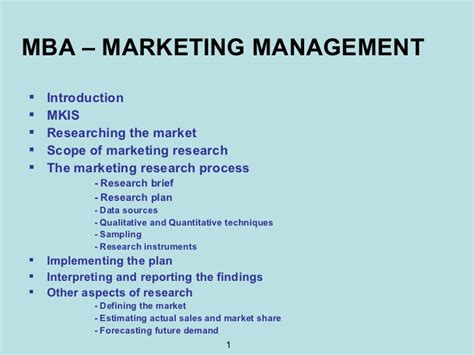 Mba In Marketing Scope by Mba Marketing Management