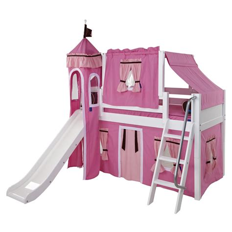Castle Bunk Bed With Slide Pink And White Playhouse Castle Loft Bed By Maxtrix 370