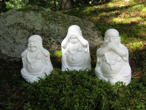 buddha statues three laughing buddha figures hear no evil