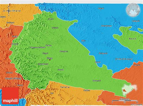 pune geographical map political 3d map of pune