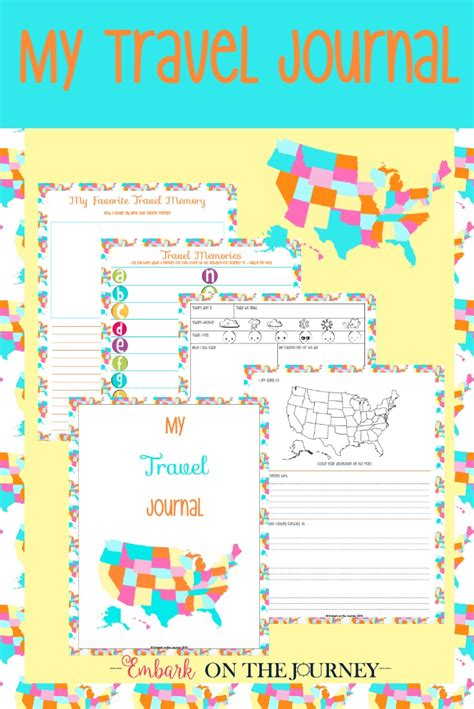 printable road trip journal printable travel journal for kids to record vacation