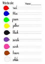 color writing teaching worksheets colours