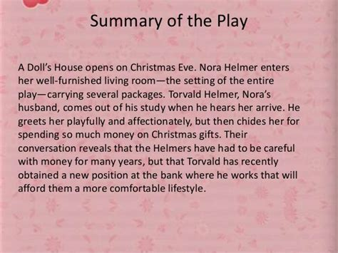 summary of the dolls house quot a doll s house quot henrik ibsen