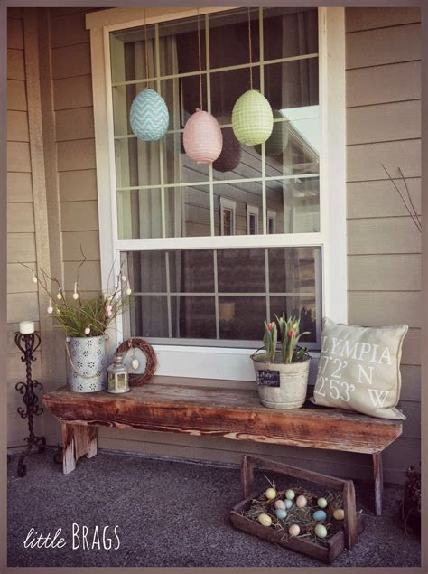 brags a easter decorating on the front porch