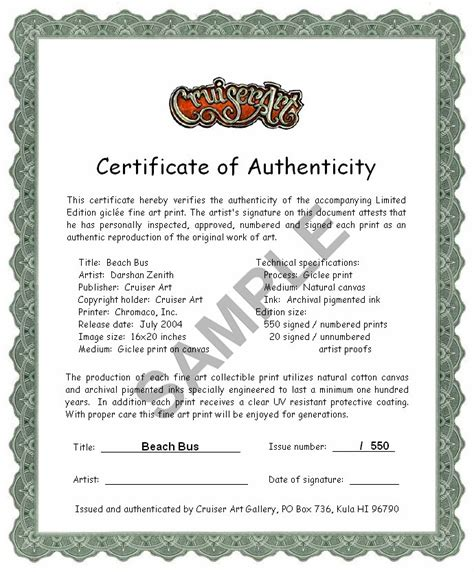 limited edition print certificate of authenticity template certificate of authenticity signed and numbered