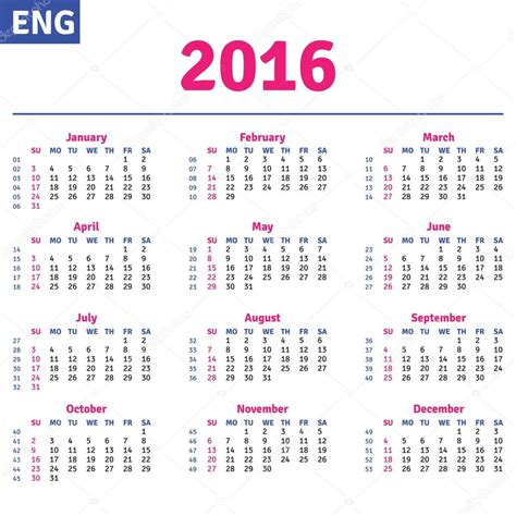 What Does Calendario In Calendar 2016 Stock Vector 169 Rustamank 71197487
