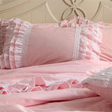 Lace Bedding Set Pink Ruffle Bedding