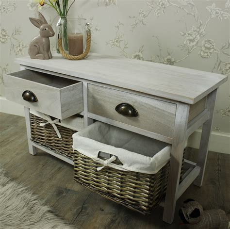 bench with wicker baskets vintage grey range two drawer with wicker baskets storage bench melody maison 174
