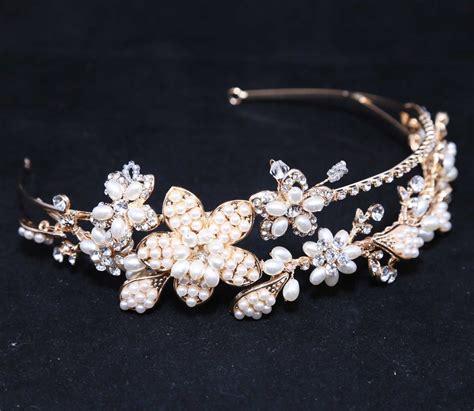 Bridal Faux Pearl Lace Headband faux pearl gold bridal wedding rhinestone
