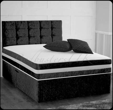 Velvet Bed With Drawers Crushed Velvet Divan Bed With Bed Storage