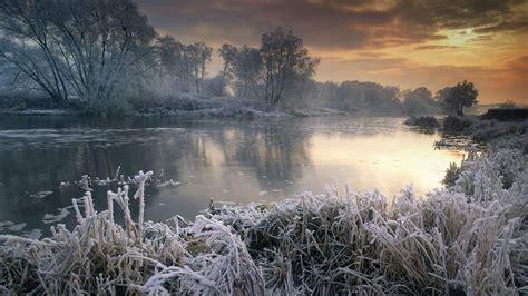 nature landscape winter sunset river trees sky