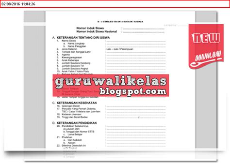 format buku induk contoh format buku induk siswa lengkap untuk tk sd mi