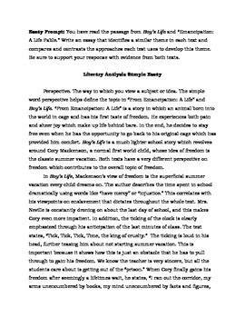 Exle Of Literary Essay by Two Literary Analysis Sle Essays Parcc 6 8 Students And Common Cores