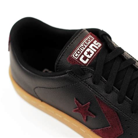 Converse Pro Leather 76 Ox Mid Leather Black Black Egret converse pro leather skate ox black gum forty two skateboard shop