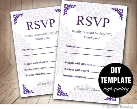 rsvp template purple wedding rsvp template diyinstant printable