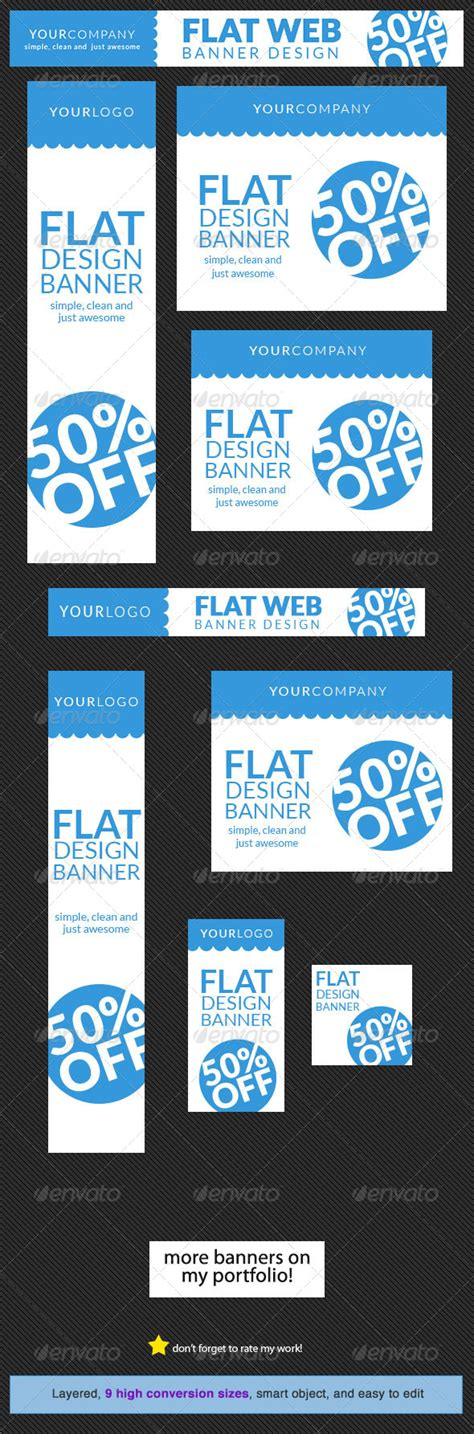Flat Web Banner Design Template By Admiral Adictus Graphicriver Website Advertisement Template
