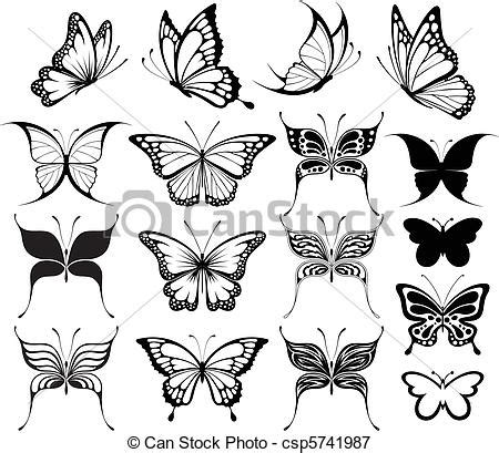 vectors illustration of butterfly clipart set of