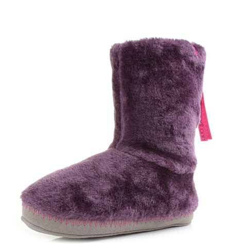 womans slipper boots womens animal bollo berry faux fur slipper boots sz