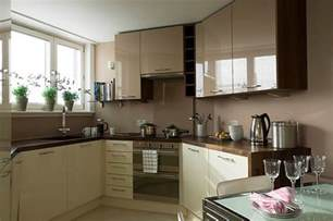 Kitchen Design Small Spaces Glossy Cafe Au Lait Upper Cabinets In Small Space Kitchen