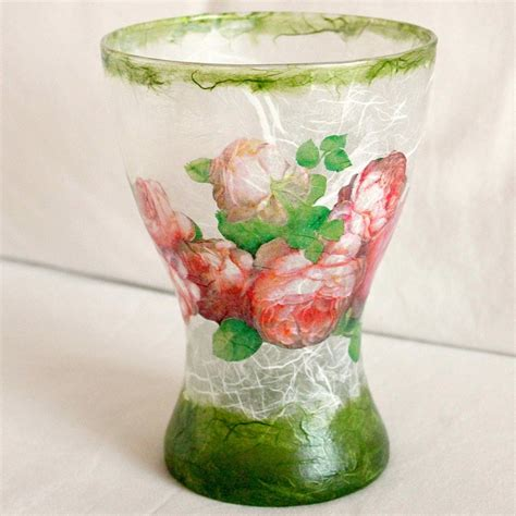 Decoupage Glass Vase - glass vase decoupage with mullberry paper decoupage