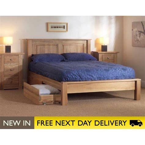 oakham solid wood oak bed with drawers sleepy