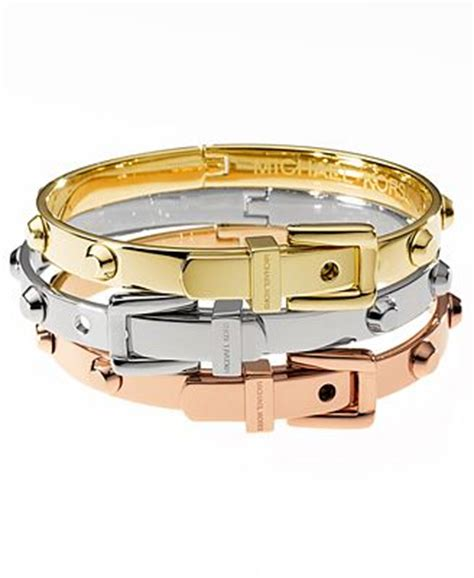 New Mk New York Rantai Silver michael kors tri tone belt buckle bangle bracelets