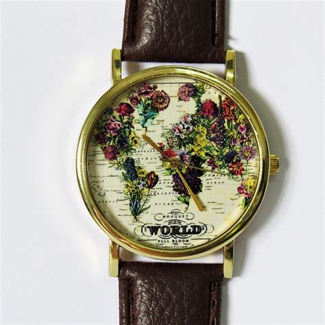 world  full bloom map floral  vintage style