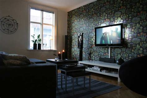 Best Living Room Tv Setup Floral Wallpaper Living Room Tv Setup Interior Design Ideas