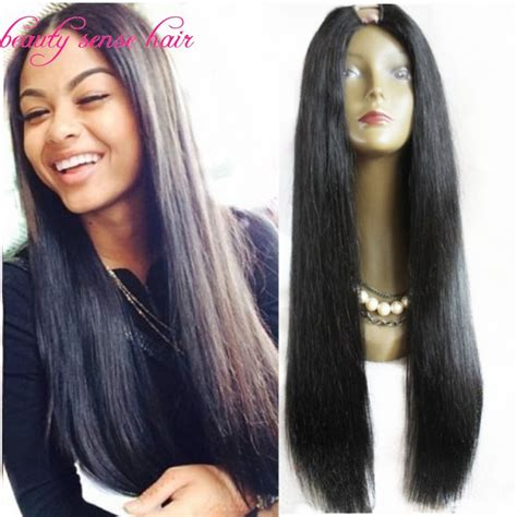 long black hair with part in the middle high quality long silky straight u part wig virgin human