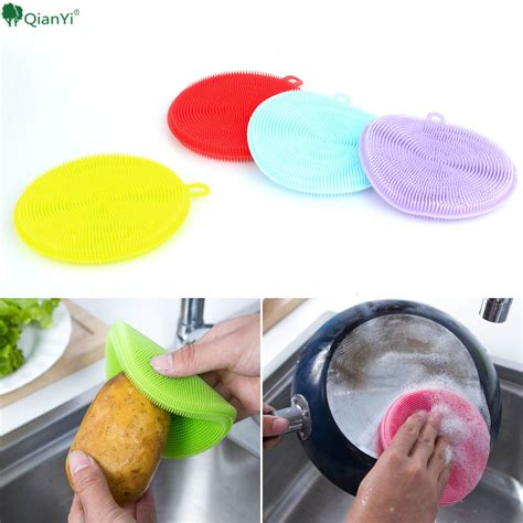 List Sponge Silicone 15x20 Mm multi purpose fruit vegetable food grade silicone dishwashing sponge brush antibacterial kitchen