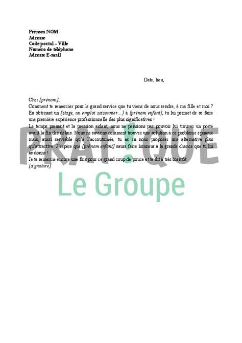 Exemple De Lettre De Remerciement En Pdf Lettre De Remerciement Pour Un Stage Pratique Fr