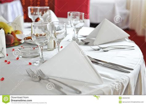 fancy place setting fancy table set for a wedding celebration stock image