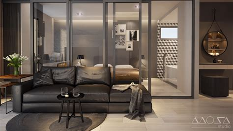 bedroom with glass walls home designing 3 modern studio apartments with glass