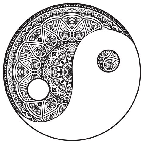 yin yang coloring book pages mandalas coloring pages for adults coloring page
