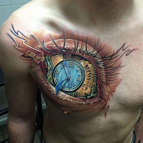 tattoo chest clock eye clock chest tattoo best tattoo ideas designs
