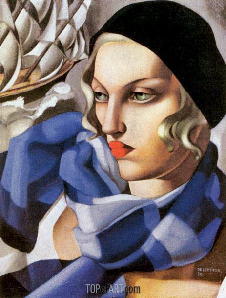 tamara de lempicka art the blue scarf lempicka gem 228 lde reproduktion 4502