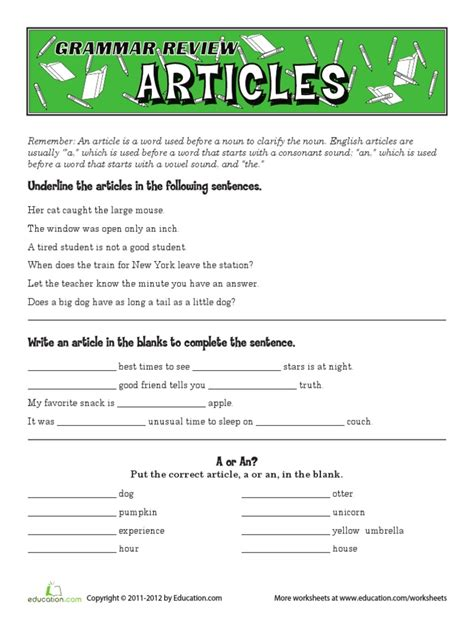 a an the worksheets worksheet mogenk paper works