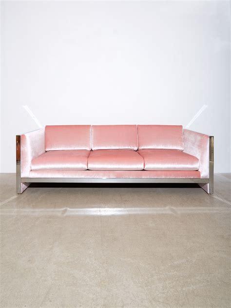 baby pink velvet sofa coming soon milo baughman chrome velvet sofa garmentory