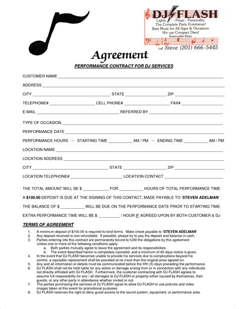 dj contract agreement template 4 dj contract template timeline template
