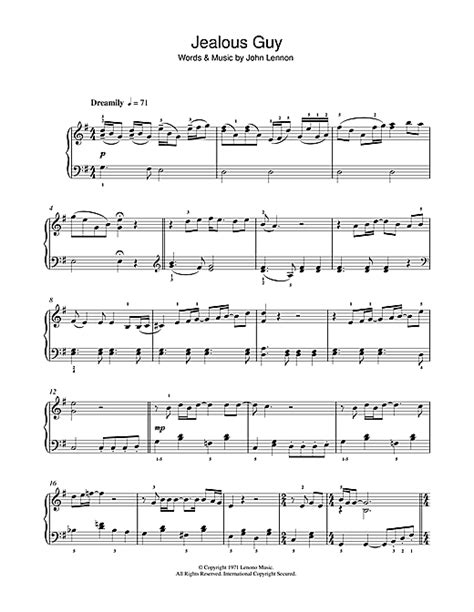 tutorial piano jealous guy jealous guy sheet music by john lennon piano 44421