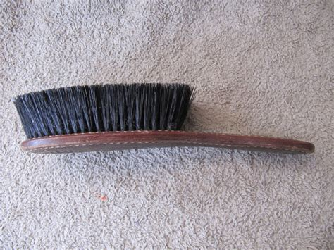 vintage clothes brush shoe brush tooled leather handle