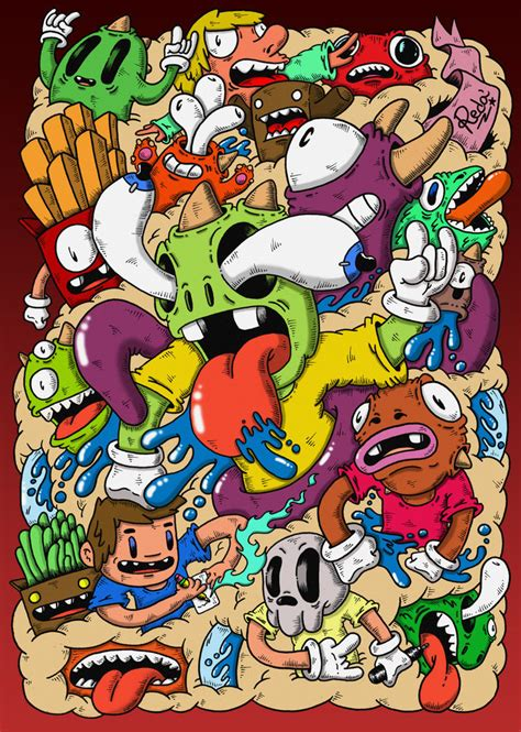 doodle characters monsters colored doodle mindblown colored by redstar94 on deviantart
